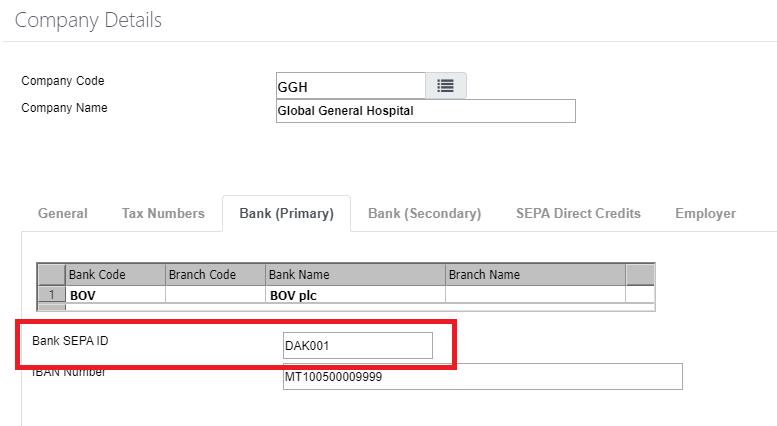 Bank SEPA ID - payroll